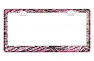CarLashes® - Encrusted Pink and Black Crystal on Chrome License Plate Frame