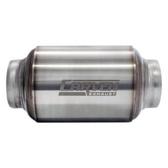 "Carven Exhaust® - R-Series Stainless Steel Round Stainless Brushed Exhaust Muffler (3"" ID, 3"" OD)"