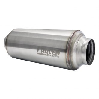 "Carven Exhaust® - TR-Series Stainless Steel Round Stainless Brushed Exhaust Muffler (3"" ID, 3"" OD)"