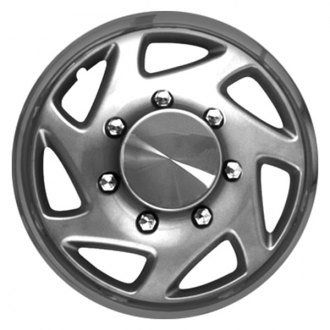 "CCI® - 16"" 7 Spokes Directional with Charcoal Ring Silver with Chrome Ring Wheel Cover Set"