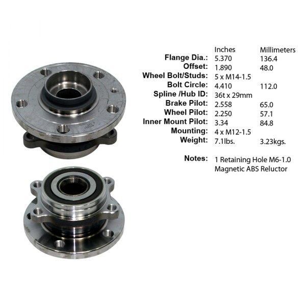 Notes: 4 Bolt Frange Front Wheel Bearing and Hub Assembly fits 2007 Volkswagen Rabbit