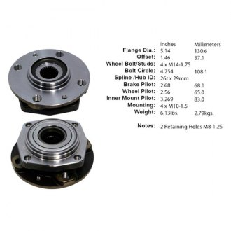 Centric® - C-TEK™ Front Axle Bearing and Hub Assembly