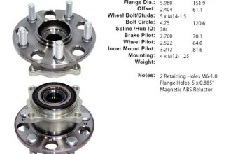 Centric® 400.40001E - C-Tek™ Driven Rear Axle Bearing and Hub Assembly