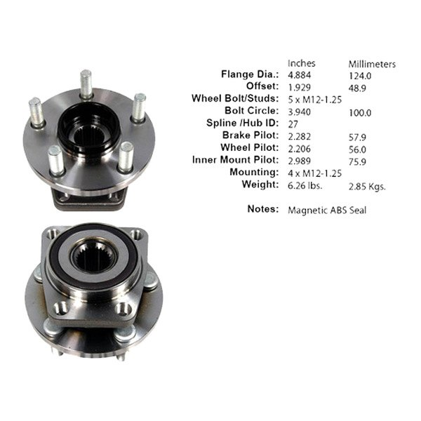 Centric® - Driven Front Premium Axle Bearing and Hub Assembly