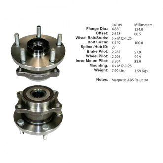 Centric® - C-Tek™ Driven Rear Axle Bearing and Hub Assembly