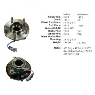 Centric® - C-TEK™ Axle Bearing and Hub Assembly