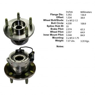 Centric® - Premium™ Front Axle Bearing and Hub Assembly