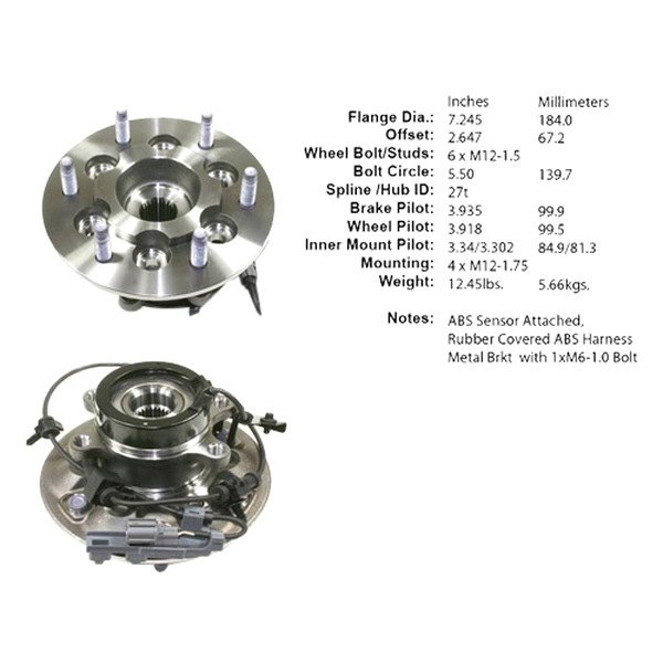 Centric 402.66011E Standard Axle Bearing and Hub Assembly