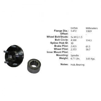 Centric® - C-TEK™ Front Axle Bearing and Hub Assembly Repair Kit