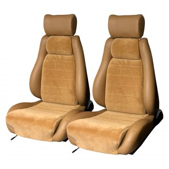 Tan Elegant Universal Front Bucket Seat Cover Genuine Leather Fabric Automotive Innovations E 196019