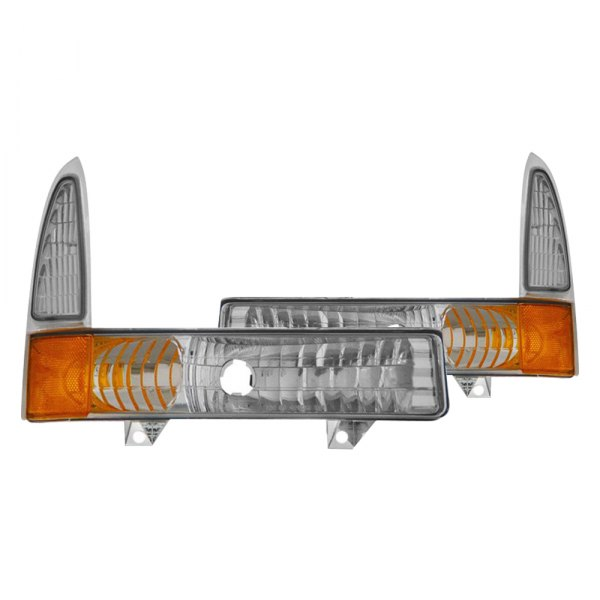 CG® - Chrome Bumper Lights with Amber Reflectors