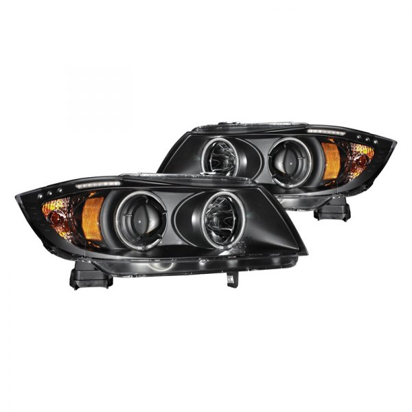 CG® - Black CCFL Halo Projector Headlights with LEDs, Amber Reflectors