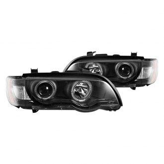 CG® - Black Halo Projector LED Headlights with Amber Reflectors