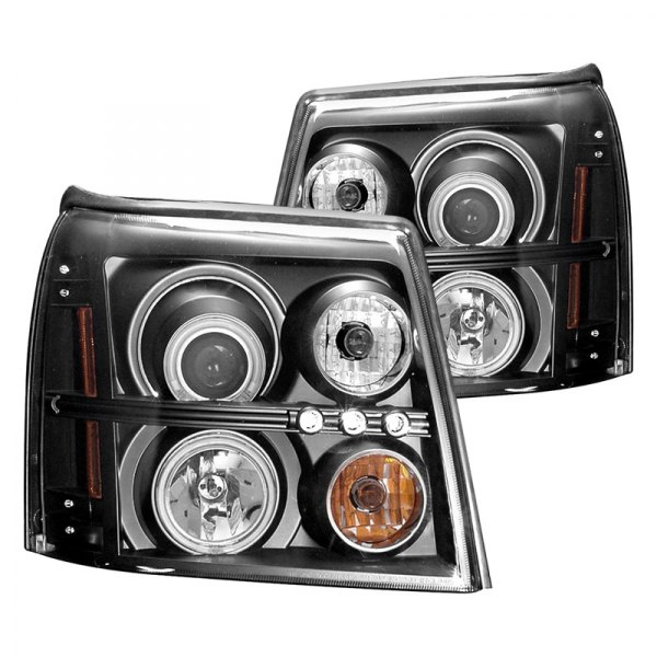 CG® - Black CCFL Halo Projector LED Headlights with Amber Reflectors