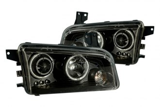 CG® 02-AZ-DC06-PBC-RF - Black CCFL Halo Projector Headlights with LEDs