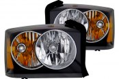 CG® - Black Crystal Headlights with Amber Reflectors, Corner Lights