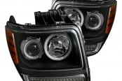CG® - Black CCFL Halo Projector Headlights with LEDs, Amber Reflectors G2