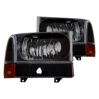 CG® - Black Euro Headlights with Corner Lights and Amber Reflectors