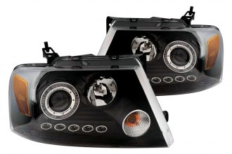 CG® - Black Single Halo Projector Headlights with LEDs