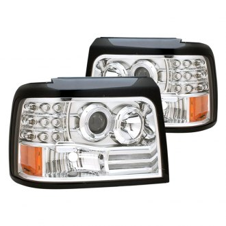 CG® - Chrome Halo Projector LED Headlights with Side Marker, Parking Lights