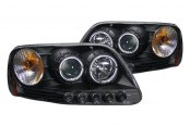 CG® - Black Halo Projector Headlights with LEDs, Amber Reflectors