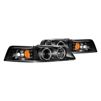 CG® - Black Dual Halo Projector LED Headlights with Amber Reflectors