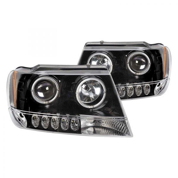 cg jeep grand cherokee 2002 black halo projector headlights with parking leds. Black Bedroom Furniture Sets. Home Design Ideas