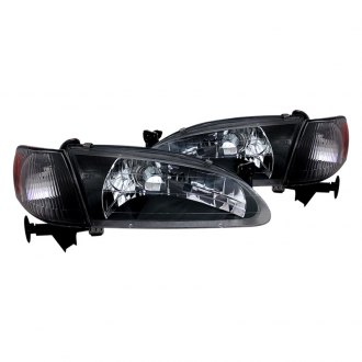 CG® - Black Euro Headlights with Amber Reflectors and Corner Lights