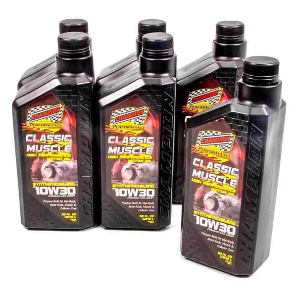 Champion Brands 4130h Classic Muscle Sae 10w 30 Synthetic Blend Motor Oil 6x1 Quart