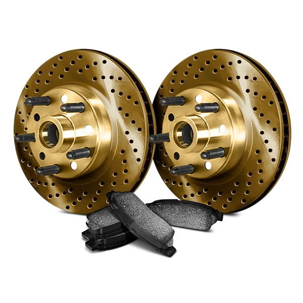 Chrome Brakes® - Drilled and Slotted 1-Piece Front Brake Kit