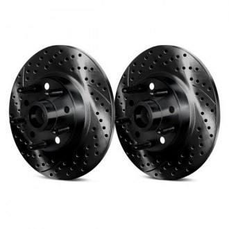 Chrome Brakes® - Drilled and Slotted Solid 1-Piece Rear Brake Rotors and Hub Assemblies
