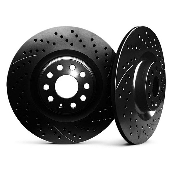 Chrome Brakes® - Solid Drilled and Slotted Black Rear Rotors
