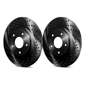 Chrome Brakes® - Drilled and Slotted Solid 1-Piece Rear Brake Rotors