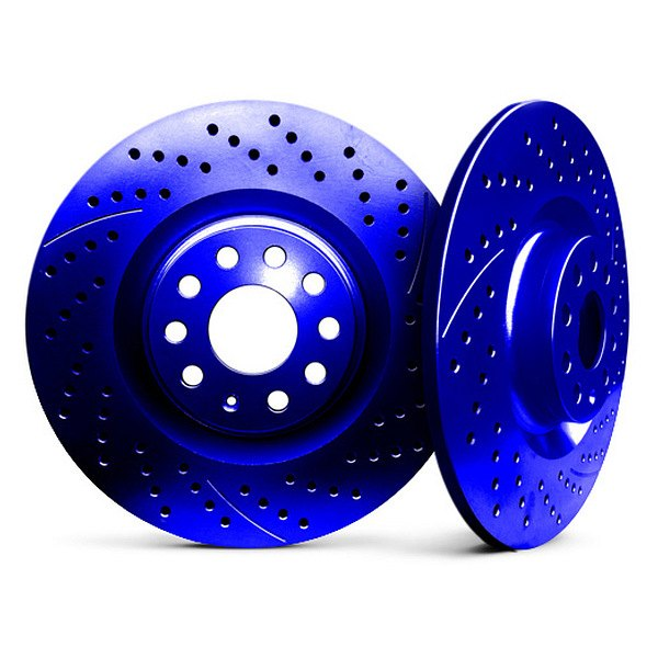 Chrome Brakes® - Solid Drilled and Slotted Blue Rear Rotors