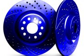 Image may not reflect your exact vehicle! Chrome Brakes® - Drilled and Slotted Blue Rear Rotors