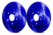 Image may not reflect your exact vehicle! Chrome Brakes® - Drilled and Slotted 1-Piece Brake Rotors