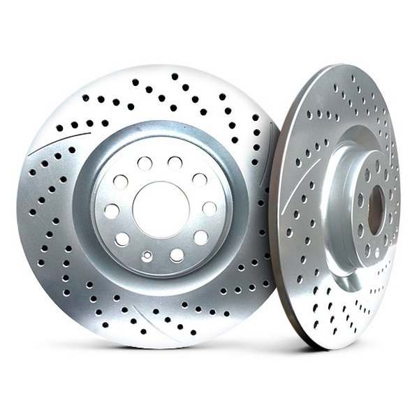 Chrome Brakes® - Solid Drilled and Slotted Chrome Rear Rotors