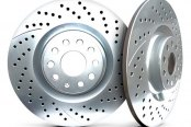 Image may not reflect your exact vehicle! Chrome Brakes® - Drilled and Slotted Chrome Rear Rotors