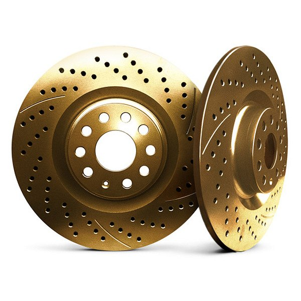 Chrome Brakes® - Solid Drilled and Slotted Gold Rear Rotors