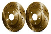 Image may not reflect your exact vehicle! Chrome Brakes® - Drilled and Slotted Gold Rear Rotors