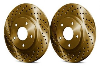 Chrome Brakes® CBX1.1109.0915G - Drilled and Slotted Rear Gold Rotors (269mm OD, 5 Lug Holes, 16 Lbs)