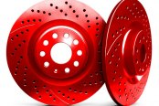 Chrome Brakes® - Solid Drilled and Slotted Red Rear Rotors