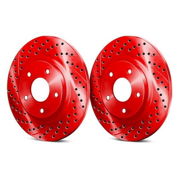 Image may not reflect your exact vehicle! Chrome Brakes® - Drilled and Slotted Red Rear Rotors