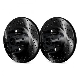Chrome Brakes® - Drilled and Slotted 1-Piece Front Brake Rotors and Hub Assemblies