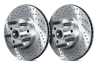 Chrome Brakes® CBX1.1109.1587C - Vented Drilled and Slotted Front Chrome Hub and Rotor Assemblies (276mm OD, 5 Lug Holes, 40 Lbs)