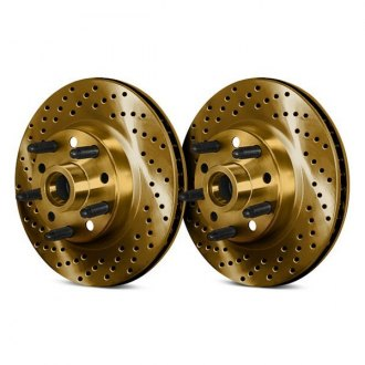 Chrome Brakes® - Drilled and Slotted Vented 1-Piece Front Brake Rotors and Hub Assembly