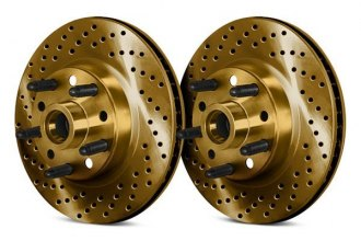 Chrome Brakes® - Drilled and Slotted 1-Piece Front Brake Rotors and Hub Assembly