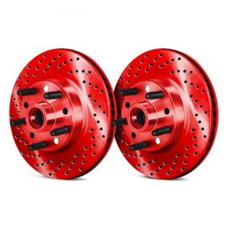 Chrome Brakes® - Drilled and Slotted Vented 1-Piece Front Brake Rotors and Hub Assemblies