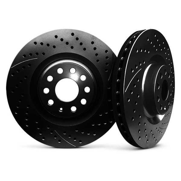 Chrome Brakes® - Vented Drilled and Slotted Black Rear Rotors