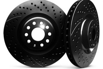 Chrome Brakes® CBX1.1109.0291B - Vented Drilled and Slotted Front Black Rotors (348mm OD, 5 Lug Holes, 45 Lbs)